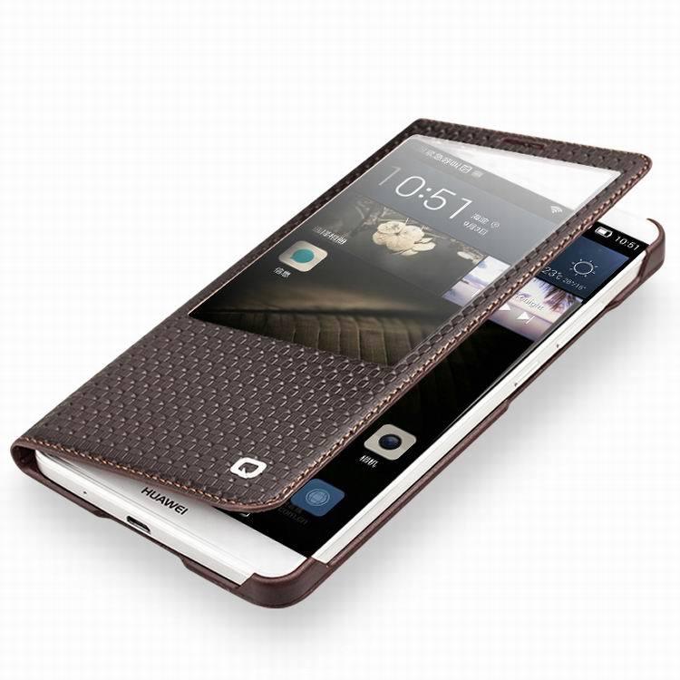 imágenes para 2016 Cubierta del Cuero Genuino para Huawei Ascend Mate 7 Inteligente Ventana Vista Flip Case con Auto. función de la estela del sueño Magnético Cerrado