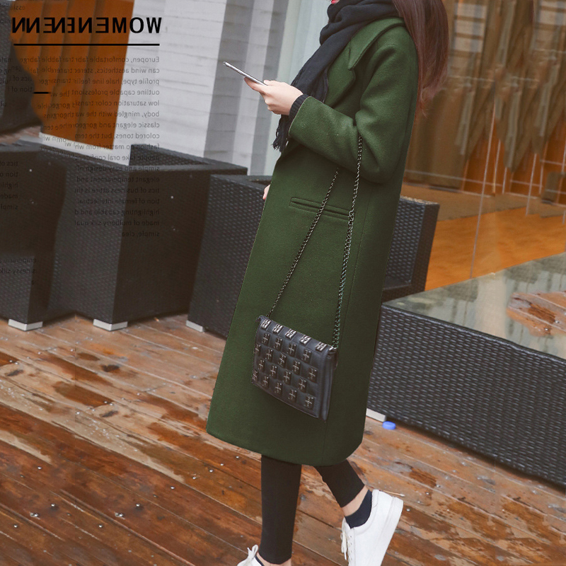 Coat Female Quality Waqia black army 2018 Light Winter Autumn Coats Khaki Black Slim Green Fashion Blends Elegant caramel Women's Long Wool Woolen Outerwear High qWSCp