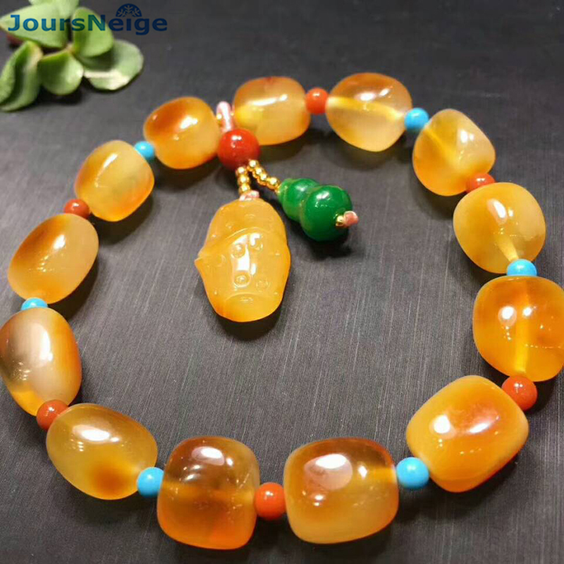 Fine Old Yellow Natural Stone Bracelets Beads with Gourd Flower Pendant Hand String Lucky for Women Girl Bracelet Jewelry candy coloured string hand chain bracelets
