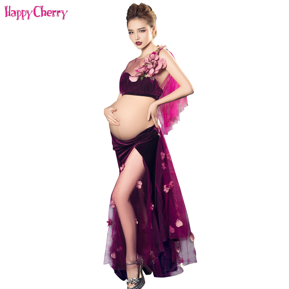 Maternity Photography Props Voile Chiffon Flower Long Dress Pregnant Photo Shoot Pregnancy Portrait Culottes Suits Top and Skirt