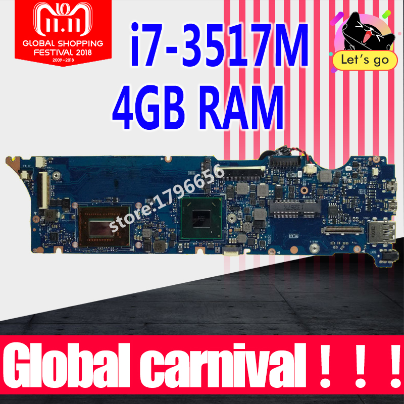 UX31A Motherboard I7-3517U CPU 4GB RAm For ASUS UX31A UX31A2 laptop Motherboard UX31A Mainboard UX31A Motherboard test 100% ok все цены