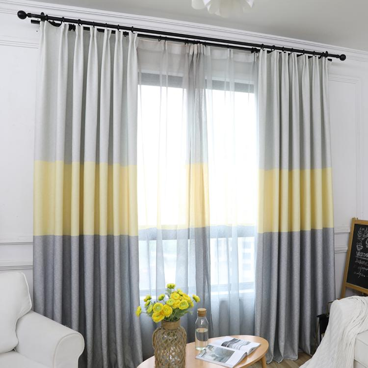 Fashion Japanese Yellow Grey Window Curtain for Living Room Grommet Top Window Treatment Kitchen Hooks Drapery Bathroom Tulle