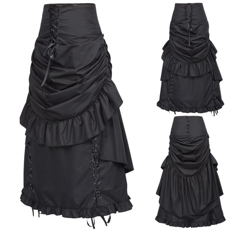 New Steampunk Skirts Womens Solid Color Ruffle Ruched Vintage Gothic Victorian Edwardian Bustle Style Long Maxi Skirts Faldas