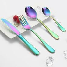 Rainbow Stainless Steel Dinnerware Set Western Cutlery Knife Fork Soup Scoop Coffee Scoop Full Set Tableware Wedding Gift Set