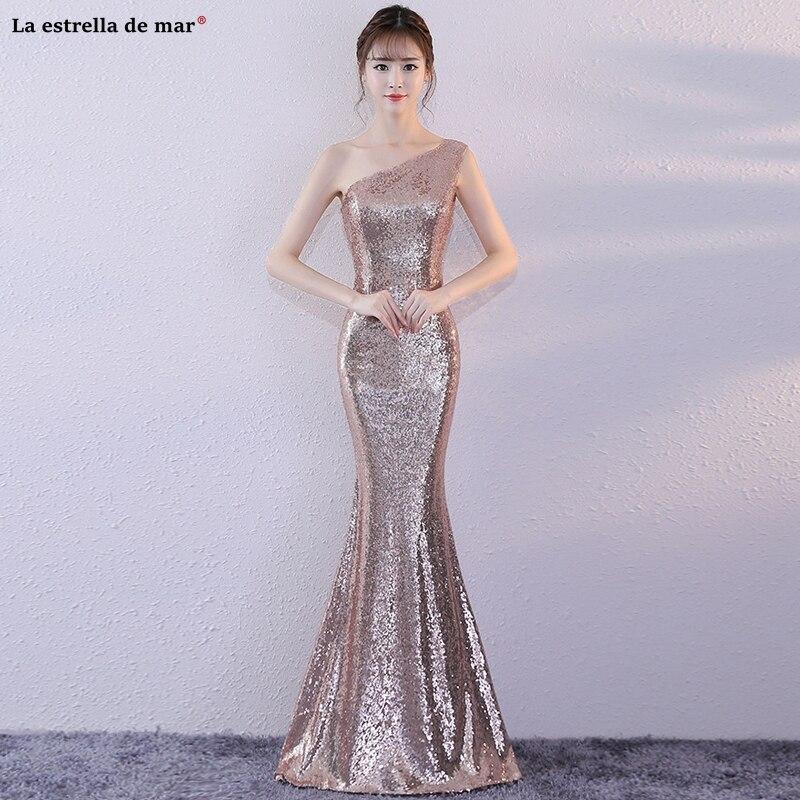 Vestido de festa longo para casamento new one shoulder gold champagne rose gold sequins sexy mermaid   bridesmaid     dress   cheap