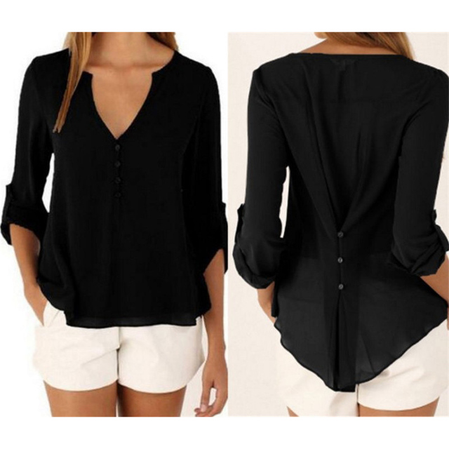 Elegant Plus Size 4XL 5XL Women Casual V Neck Vintage Top