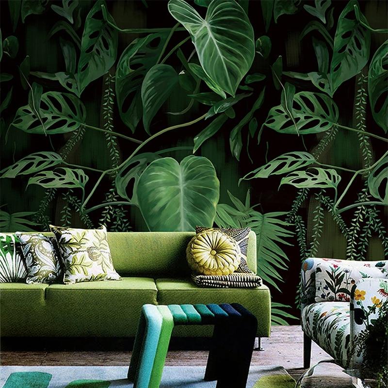 Retro Tropical Rain Forest Palm Banana Leaves Mural ...