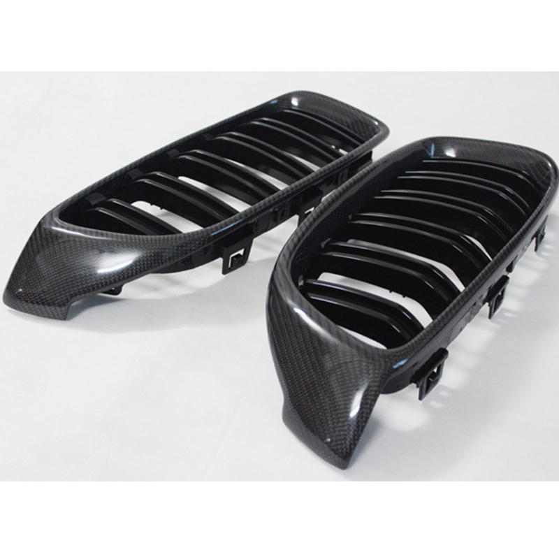 F32 F33 F36 F82 F83 M4 Style Carbon Fiber Dual Slats Car Front Bumper Mesh Grill Grille for BMW 2014 2016