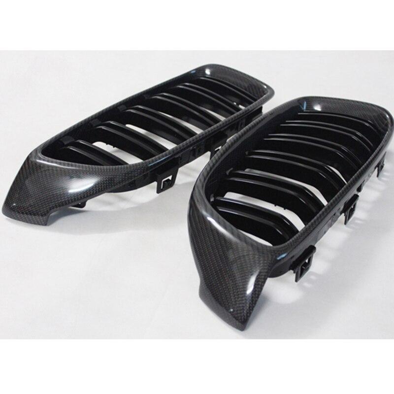 F32 F33 F36 F82 F83 M4 Style en Fiber de carbone double lattes voiture pare-chocs avant Grille Grille pour BMW 2014-2016