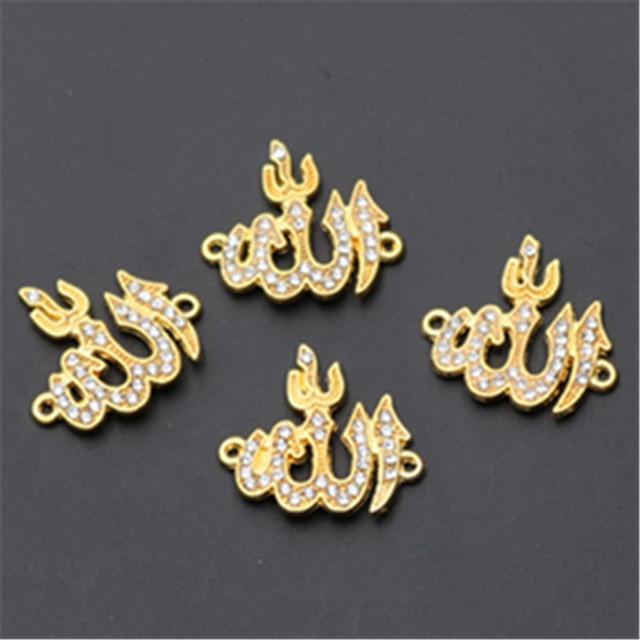 8pcs עתיק זהב 24*22mm ריינסטון אללה לוגו סגסוגת מחברים לשרשרת DIY דת אסלאמי תכשיטי קסמי ממצאי