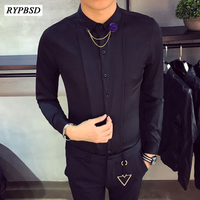 Men Korean Shirt 2018 Spring New Fashion Turn down Collar Slim Fit Tuxedo Shirt Men Casual Long Sleeve Social Shirt Man
