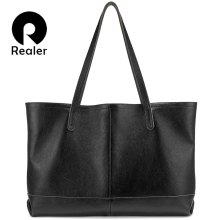 REALER Minimalist Style women bag genuine leather handbags f
