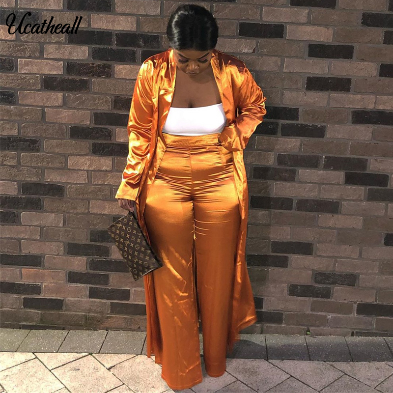 Women Satin Open Stitch With Sashes Long Trench +straight Long Pants Suits Two Piece Set Wide Leg Pants Tracksuit Outfit