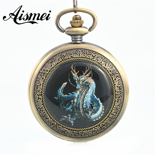 2018 Bronze mens steampunk watches fob antique dragon pocket watch chain mechanical relogio de bolso male orologio da tasca luxury antique skeleton cooper mechanical automatic pocket watch men women chic gift with chain relogio de bolso