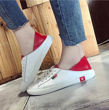 59404d10fd5 US $32.88 |2018 women spring and summer new style leather green tail red  tail small white shoes Korean students wild flat shoes-in Women's Flats  from ...
