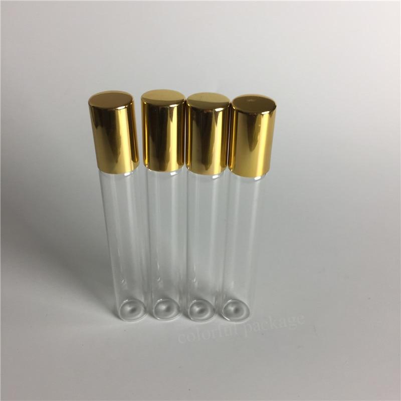 5pcs 10ml Transparent Essential Oil Gass Rollon Bottle Emptyt Perfume Bottles With Gold Black Cap