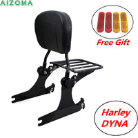 Flat Detachable Luggage Rack Motorcycles Passenger Rear Pad Backrest Sissy Bar For Harley Dyna FXDF FXDFSE FXDWG 2008 Later