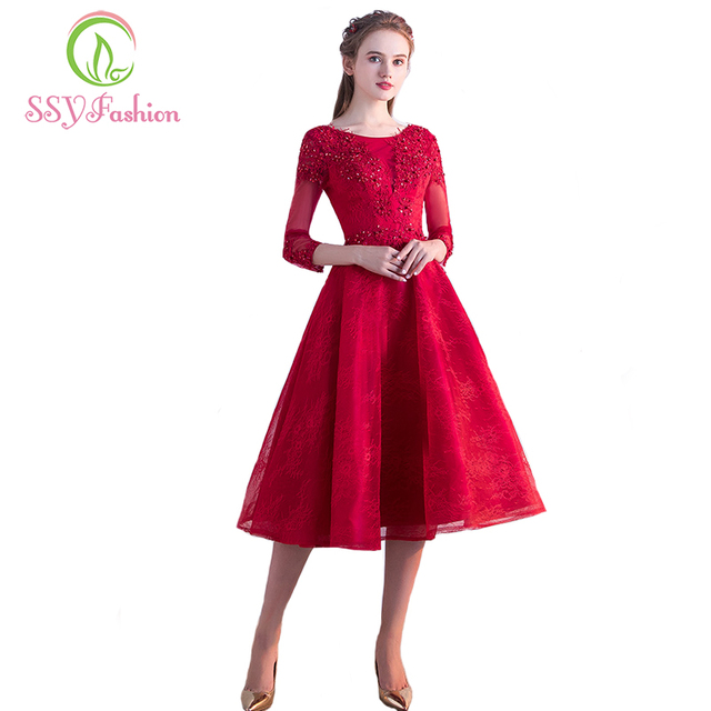 SSYFashion 2017 New Red Lace Evening Dress The Bride Banquet Elegant Party  Gowns Tea-length 3 4 Sleeved Formal Dresses Custom 391e161a6ea7