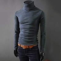 Autumn Winter Fashion BBYES Men S Casual Long Sleeve Turtle Neck Pullover Cotton Knit Sweater Slim