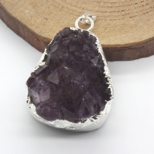 цены 100-Unique 1 Pcs Irregular Shape Natural Purple Amethysts Pendant Fashion Jewelry For Necklace