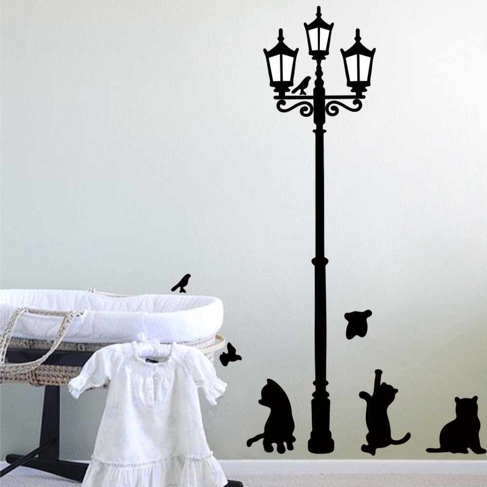 Wall stickers cat - 1pc 2014 New Arrived Cat Wall Sticker Lamp And Butterflies Stickers Decor Decals For Walls Vinyl Removable Decal Wall Muralsb052 In Wall Stickers From Home