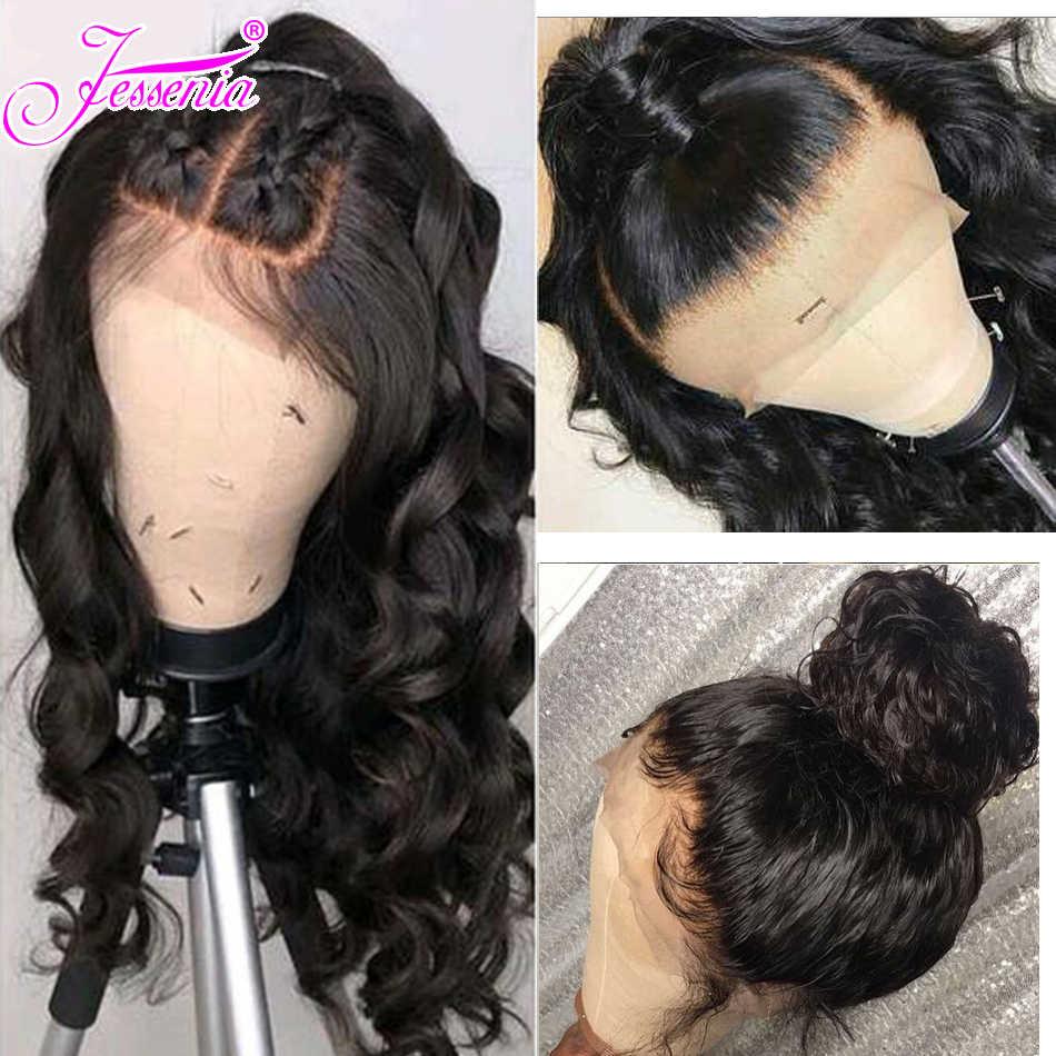 Peluca de la onda del cuerpo 13*4 peluca del pelo humano del frente del cordón para las mujeres línea de pelo Pre desplumado con el pelo del bebé peruano peluca de cierre de cabello Remy