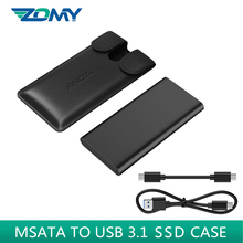 Zomy msata sdd case portable aluminum 3*3/3*5 msata to usb 3.1 external SSD enclosure mobile solid state disk with leather case