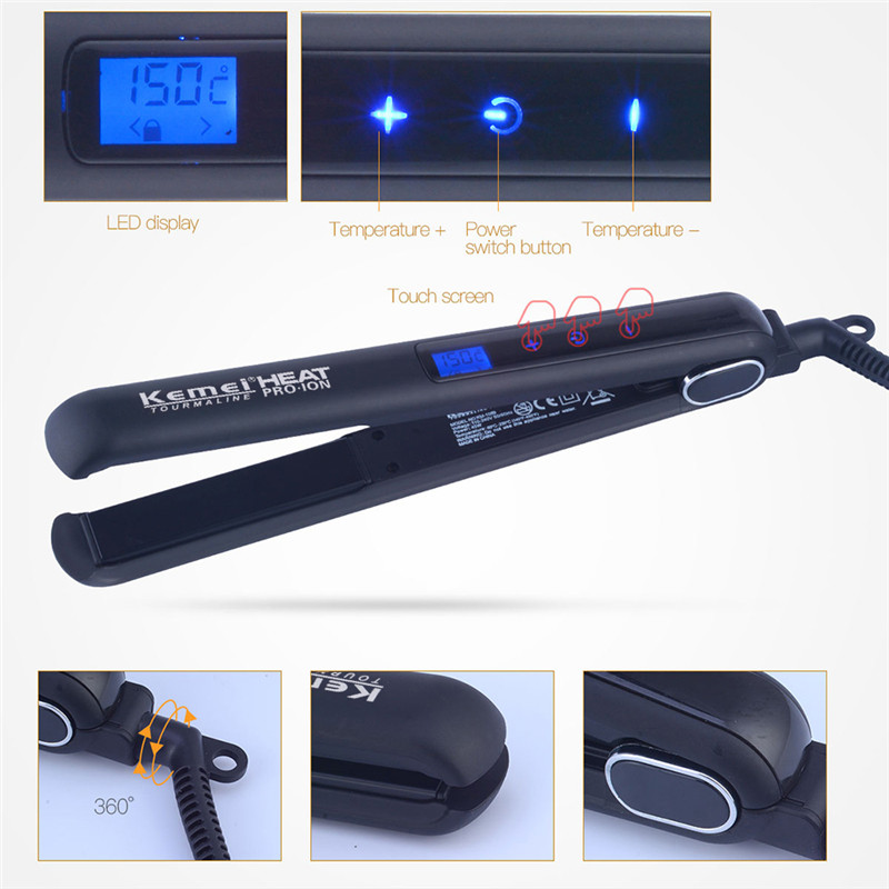 Kemei 110-240V Portable PTC Digital Temperature Touch Control Electric Straightening Irons Adjustable Temperature Rapid Heating
