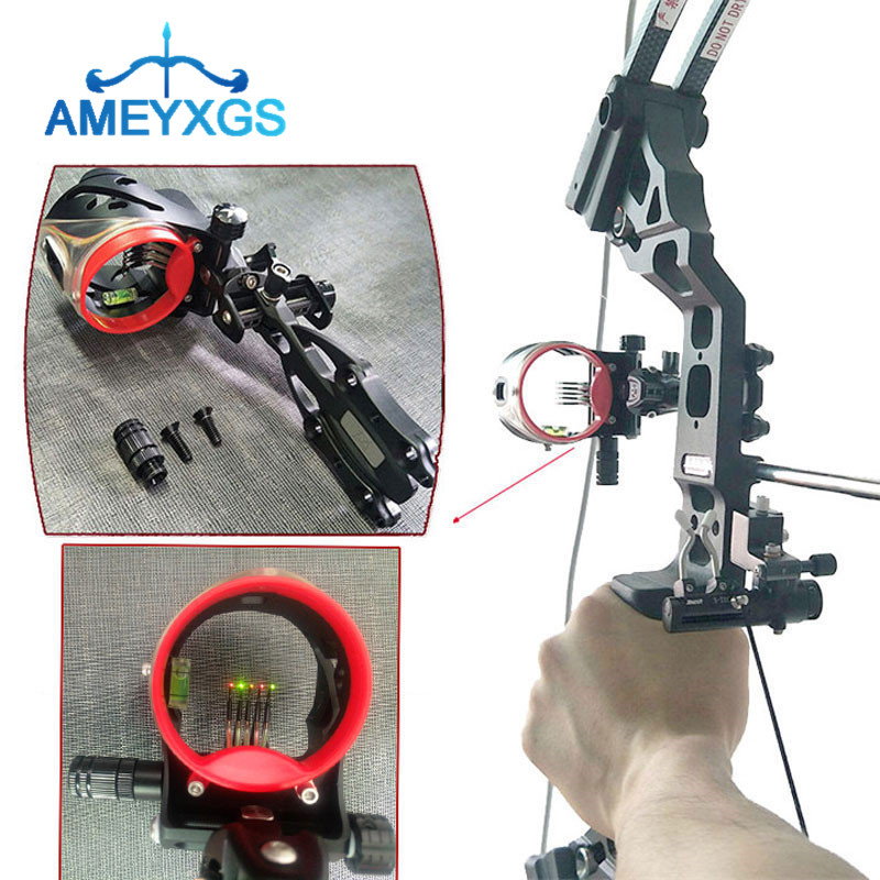 1Pc Archery Compound Bow Sight 5 Pin 0 019 Optic Fiber Micro Adjustable Bow Sights For