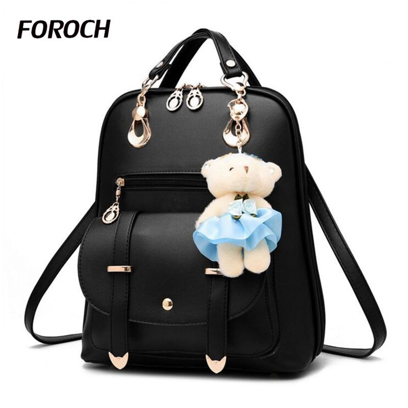 FOROCH Women Backpack For Girl Laptop Backpacks Leather Female Fashion Bags School Bagpack Bolsas Mochila Feminina Schoolbag 268 women sequin backpack mochila lentejuelas teenager girl school bags bling bling lady backpacks bolsa feminina sac a main femme