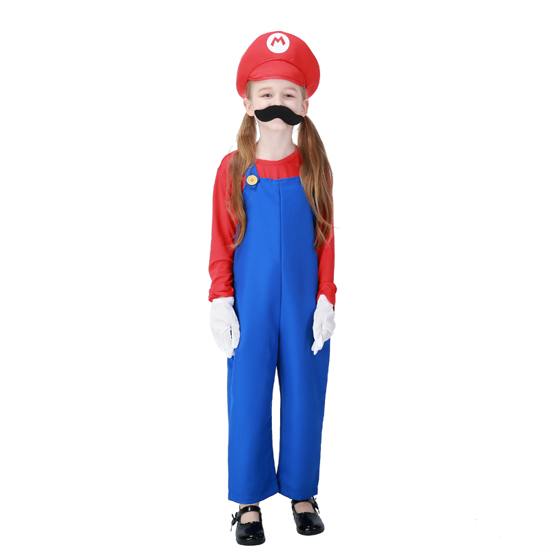 Child Girls Funny Super Mario Luigi Bros Cosplay Overalls Plumber Long Sleeves Halloween Costume Fancy Outfit For Children