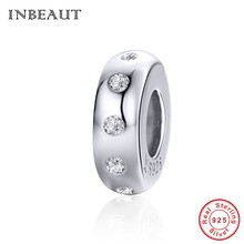 INBEAUT 100% Real 925 Sterling Silver Simple Round White Cubic Zirconia Paved Beads fit Pandora Bracelet CZ Fate Wheel Charms real 925 sterling silver 6mm cubic zirconium round cz tennis bracelet bsqd3055