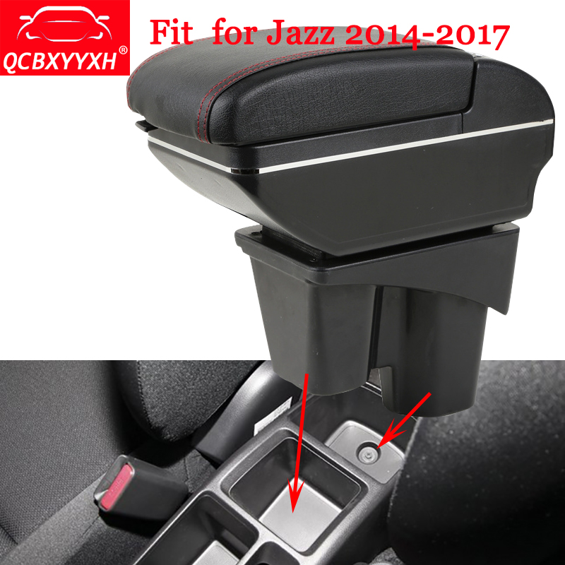 QCBXYYXH ABS Car Armrest Box Center Console Storage Box Holder Case Auto Accessories For Honda Fit 2014-2017 Jazz 3rd generation accessories new new for porsche macan 2014 2015 2016 front central car seat seam storage box holder