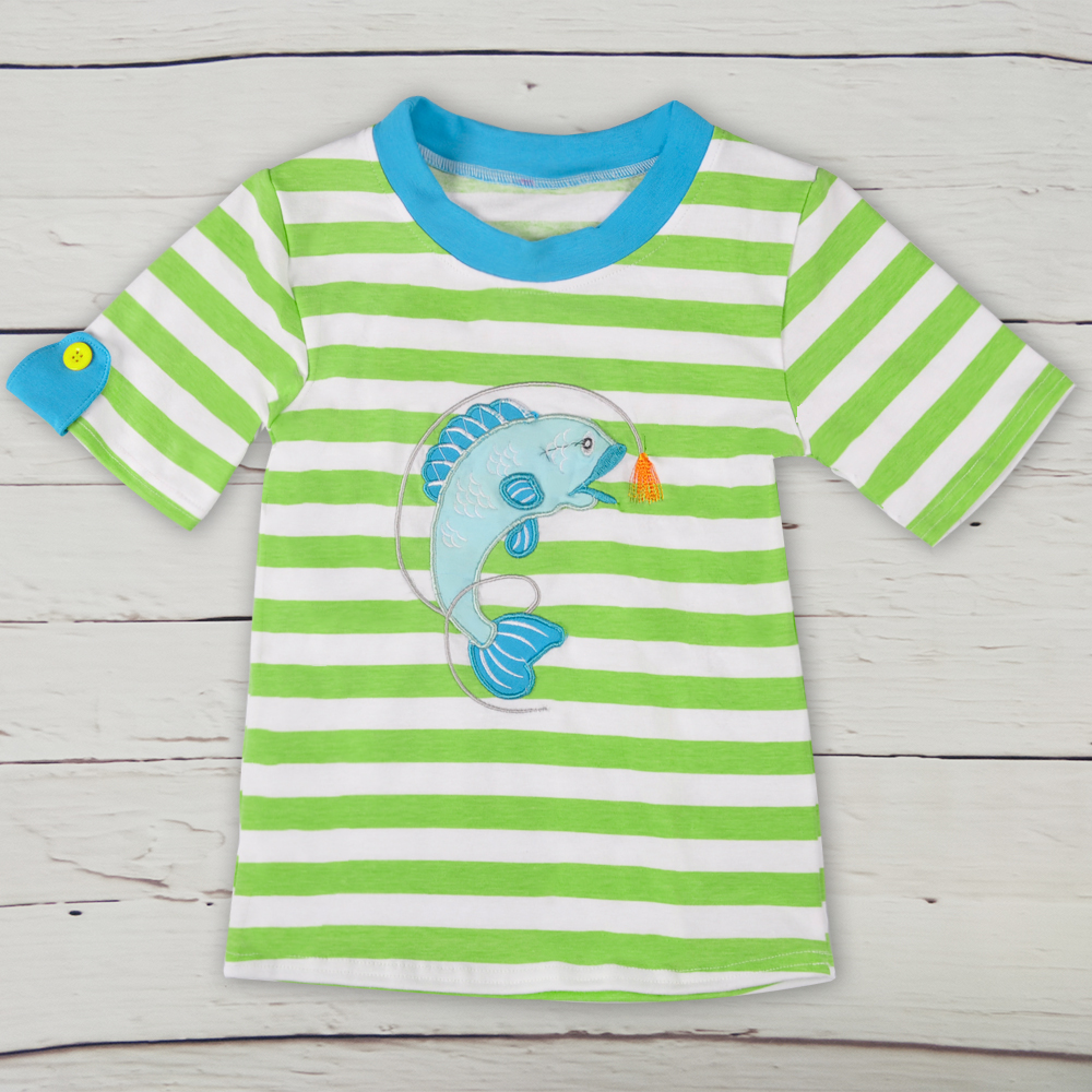 Summer Boy Style Kids Outfits Persnickety Boys Short Sleeve Fish Pattern Embroidery Green T-shirt BSY802-015Summer Boy Style Kids Outfits Persnickety Boys Short Sleeve Fish Pattern Embroidery Green T-shirt BSY802-015