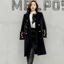 Двубортное пальто в стиле милитари шерсть норки в британском стиле дизайнерское деловое пальто в Корейском стиле верхняя одежда зимние женские пальто