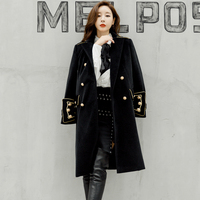 Women Autumn Winter Double Breasted Military Army Mink Wool Coat British Style Designer Work Business Blends Coat Outwear E6569