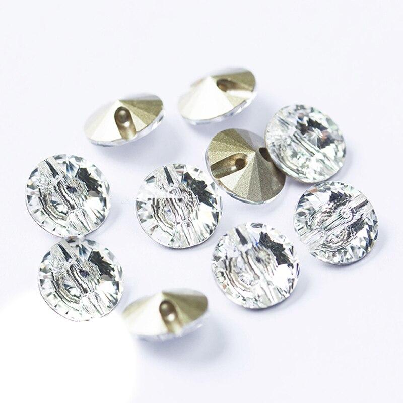 A3015 boutons de couture strass cristal clair 16mm, 18mm, 27mm Rivoli coudre sur strass bouton pour artisanat de vêtements