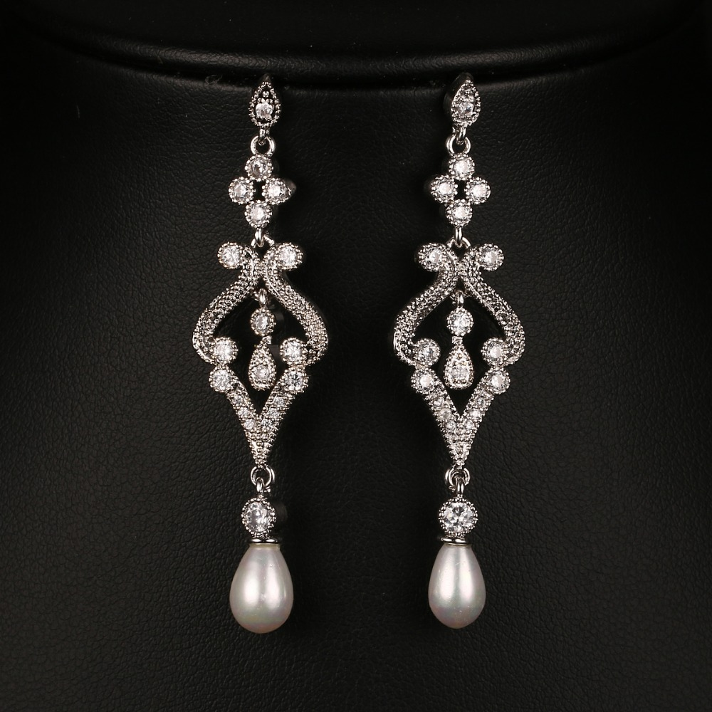 Emmaya Fashion Simulated Pearl CZ Bridal Long Earrings Jewelry - Fashion Jewelry
