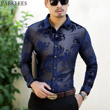 Paisley Floral Lace Shirt Men 2018 Luxury Embroidery Transparent Mens Dress Shirts See Trough Sexy Club Party Prom Social Shirt