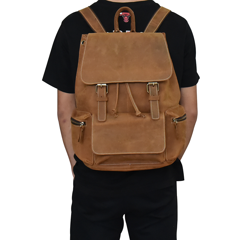 Men vintage crazy horse leather backpack Unisex cow leather 14 ...
