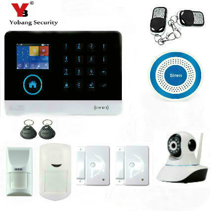 YoBang Security Smart Home Security Android IOS Wireless GPS Alarm And Pet PIR Mobile Detector Wireless Smoke Sensor IP Camera .