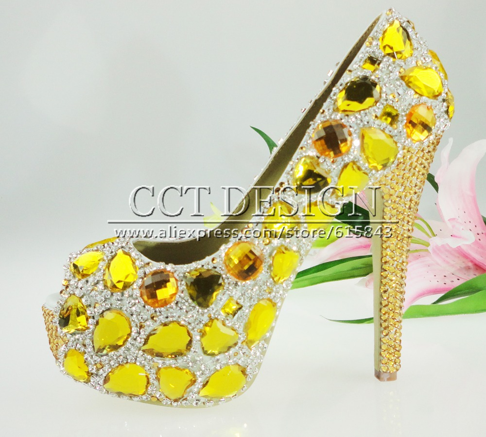 14cm Or 10cm 100 Handmade Customized Open Toe Platform Yellow Crystal Wedding High Heel Shoes Bridal In Womens Pumps From On Aliexpress