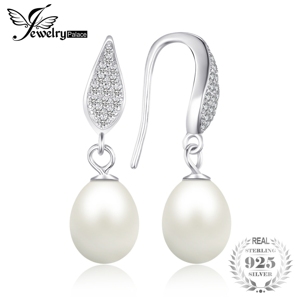 JewelryPalace 925 Sterling Silver Freshwater Cultured 8-9mm White Pearl Dangle Earrings Statement Fine Jewelry for Women daimi cultured freshwater pearl earrings 925 silver 8 9mm perfect round pearl earrings elegant fine earrings