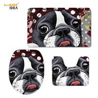 HUGSIDEA French Bulldog Cutie Toilet Seat Cover Overcoat Toilet Case Bathroom Accessories 3PCS/Set Warm Clean Washable Floor Rug