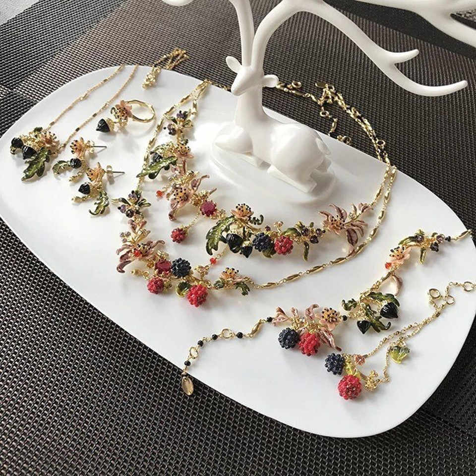 2018 Fashion Amybaby Designer Raspberry Blackberries Leaves Necklace Earrings Bracelet Adjustable Rings Enamel Glaze Jewelry