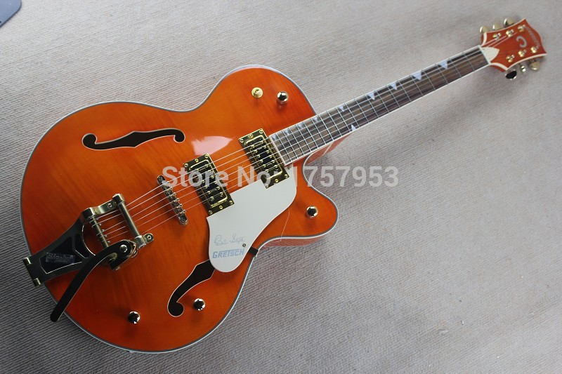 Free Shipping Factory Custom Shop 2017 new Gret sch Falcon 6120 Semi Hollow Jazz Orange Electric Guitar Bigsby Tremolo 1 15
