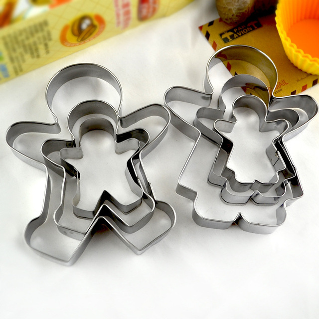 Stainless Steel gingerbread Cookie Cutter Mould Cookie Molds Boy Girl Shaper Frame Baking Decorating Tool Fondant Cake 3PCs