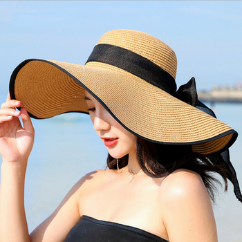 Summer Large Brim Straw Hat Floppy Wide Brim Sun Cap Bowknot Beach Foldable Hats New 2019 Hats For Women