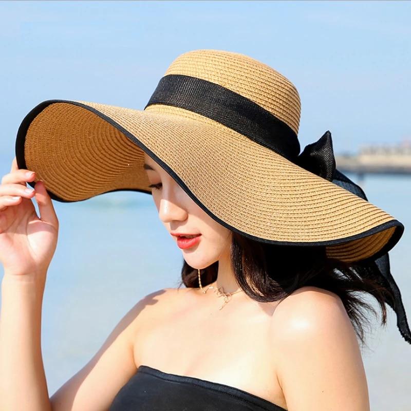 Womens Summer Holiday Beach Wide Brim Ladies Bowknot Folding Straw Hat Sun Visor