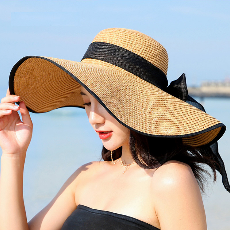 Summer Large Brim Straw Hat Floppy Wide Brim Sun Cap Bowknot Beach Foldable Hats New 2019 Hats for Women image